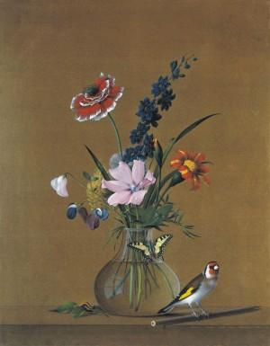 Фёдор Толстой: Цветы, бабочка и птичка