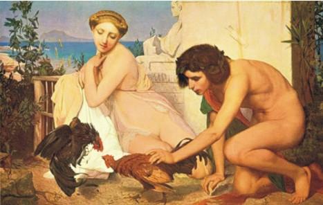 Юные греки, наблюдающие бой петухов