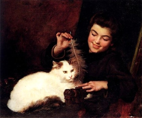 Французский художник Антуан Жан Бейль (фр. Antoine Jean Bail) (1830—1918 гг.) «Девочка с белой кошкой»