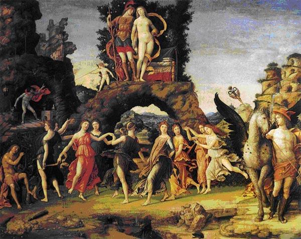 Парнас Андреа Мантенья, 1497 г. Париж, Лувр